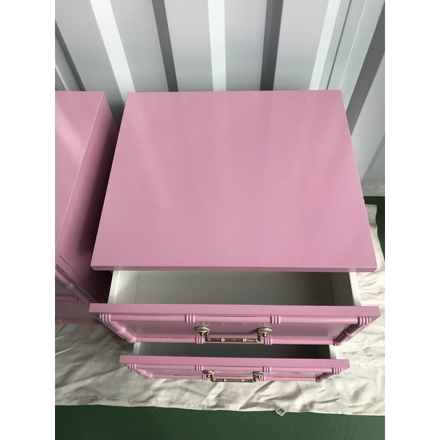 Pink Lacquered Faux-Bamboo Nightstands - A Pair - Image 7 of 8