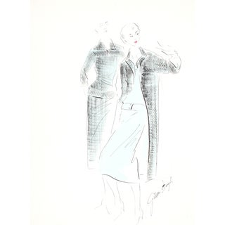 Black & Blue Original Fashion Illustration, 1950s For Sale