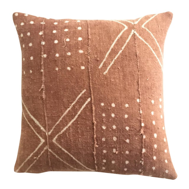 African Mudcloth Rust Pillow Cover - Image 1 of 7