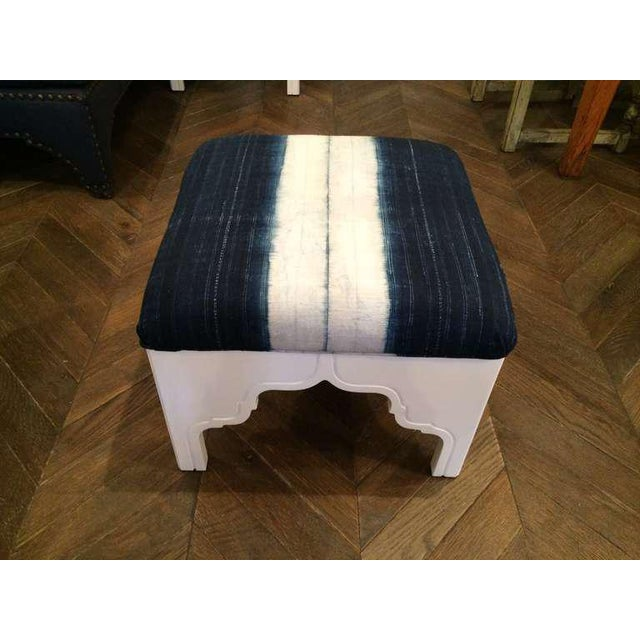 Fez ottoman made with antique fabric by Nathan Turner.
