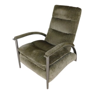 Ethan Allen Mid Century Contemporary Style Brushed Steel Frame Recliner For Sale