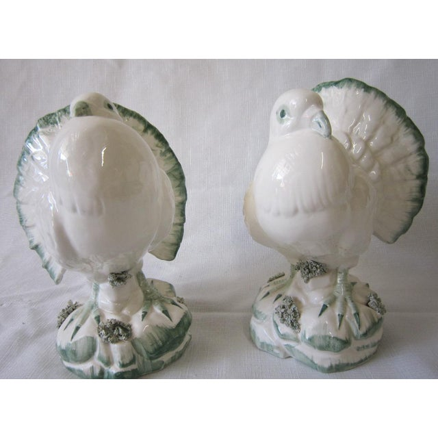 "Charming pair of vintage Italian Bird Figurines. Green and white pottery, marked ""Made in Italy"" on the base and numbered."