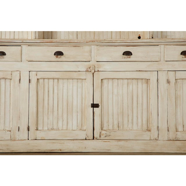 Antique White American Painted Pine Kitchen Cabinet Cupboard or Bookcase For Sale - Image 8 of 13