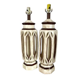 Mid-Century Ceramic With Cutout Table Lamps - a Pair For Sale