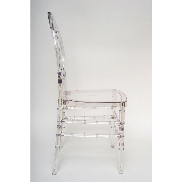 Lucite Stacking Chairs Faux Bamboo Hollywood Regency - Set of 10 For Sale - Image 11 of 13