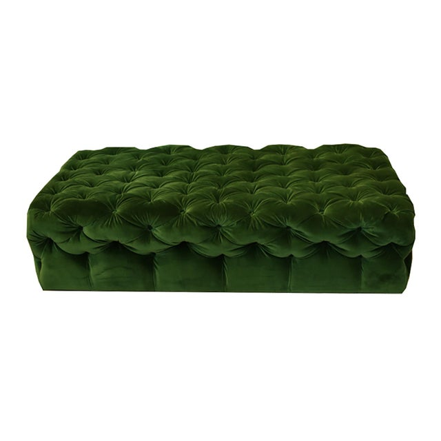 """Large, Bronson Tufted Ottoman by Plantation c. 2015. Reupholstered in Room and Board """"Vance Emerald"""" fabric. Very firm and..."""