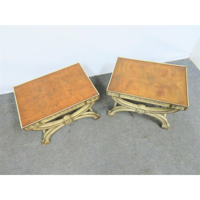 Regency Cream Carved X Base Stools- a Pair For Sale In Philadelphia - Image 6 of 8