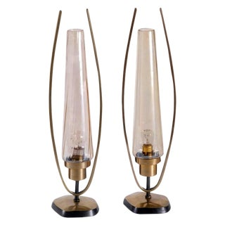 1930s Art Deco Brass and Glass Table Lamps - a Pair For Sale
