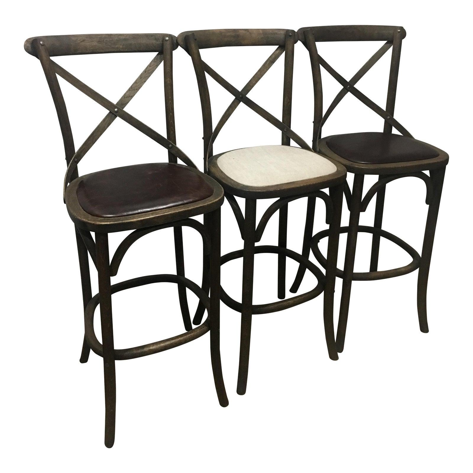 restoration hardware madeleine bar stools set of 3 chairish. Black Bedroom Furniture Sets. Home Design Ideas