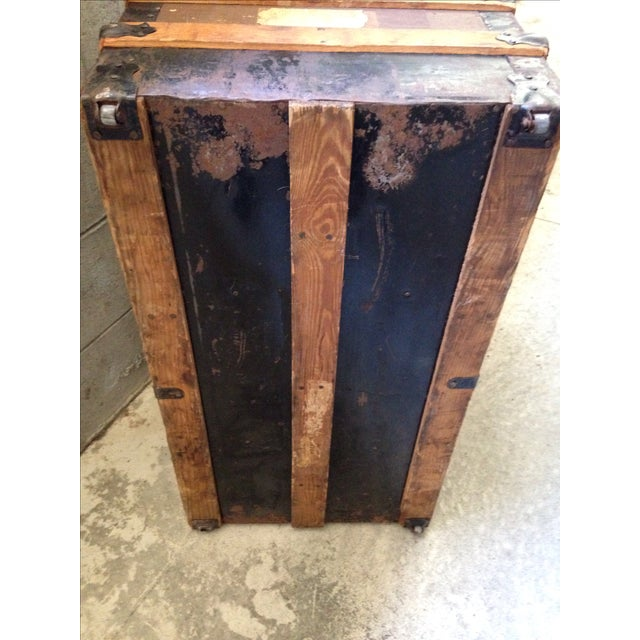 Brown Antique Wells Fargo Stage Coach Trunk For Sale - Image 8 of 9