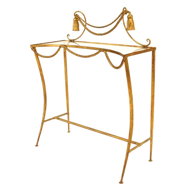 French Art Moderne '1940s' Rope and Tassel Freestanding Console For Sale
