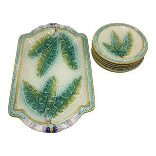 19th Century Aesthetic Movement Majolica Dessert Plates - 7 Pieces For Sale