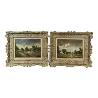 1940s Vintage JF A Lansaat Dutch Signed and Framed Paintings - A Pair For Sale