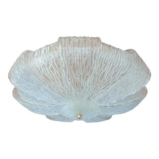 Large Mid-Century Modern Murano Clear & Textured Glass Flush Mount Light For Sale