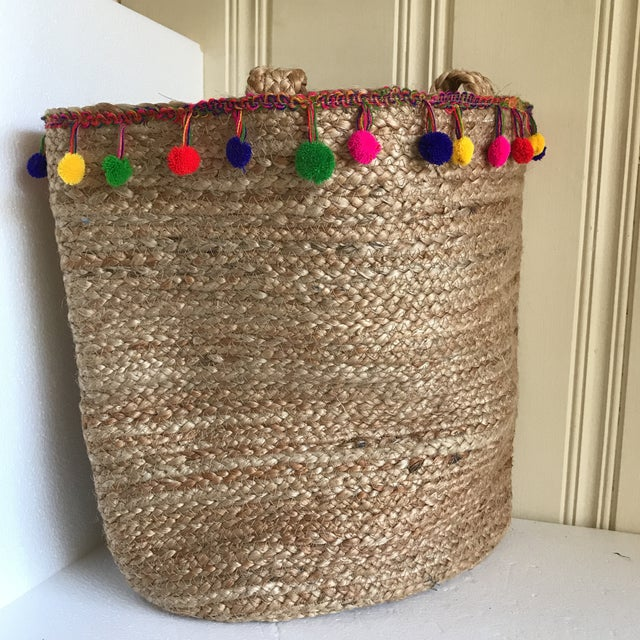 Tan Boho Jute Large Basket Tote For Sale - Image 8 of 12
