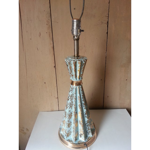 Mid Century Deco Turquoise And Gold Lamp Chairish
