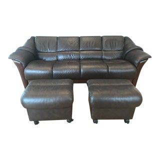 Ekornes Stressless Oslo Low Back Brown Leather Sofa With Ottomans For Sale