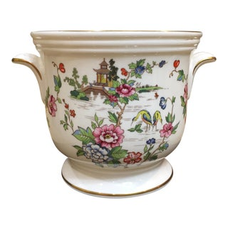 Pagoda and Roses Porcelain Cache Pot For Sale