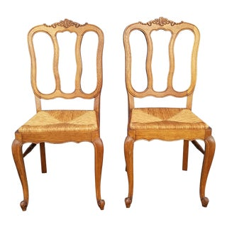 French Country Rush Seat Dining Chairs - a Pair For Sale