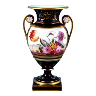 1825 English Porcelain Botanical Blue Ground Vase, Coalport For Sale
