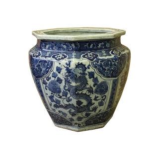 Chinese Blue White Dragon Flower Porcelain Octagon Pot Vase