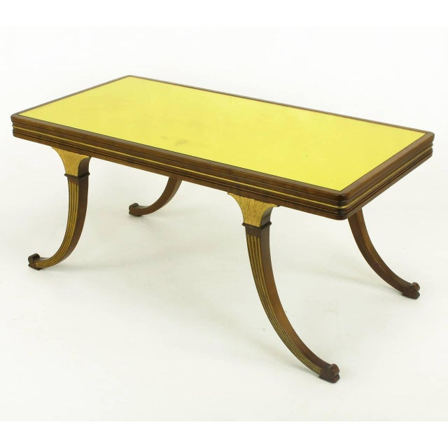 Early American Early 1900s Parcel-Gilt and Walnut Empire Coffee Table With Gold Mirror Top For Sale - Image 3 of 9