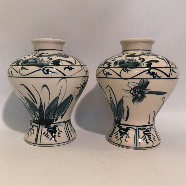 Hand Painted Blue and White Porcelain Vases - a Pair For Sale - Image 12 of 12