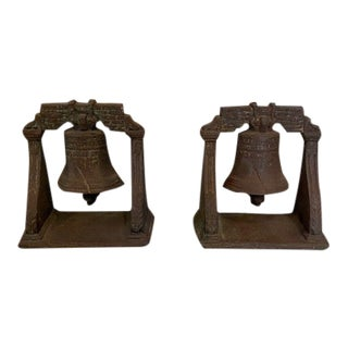 Early American Cast Iron Liberty Bell Bookends - a Pair For Sale