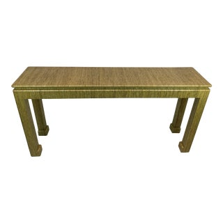 1970's Karl Springer Style Grass-Wrapped Lacquered Console Table For Sale