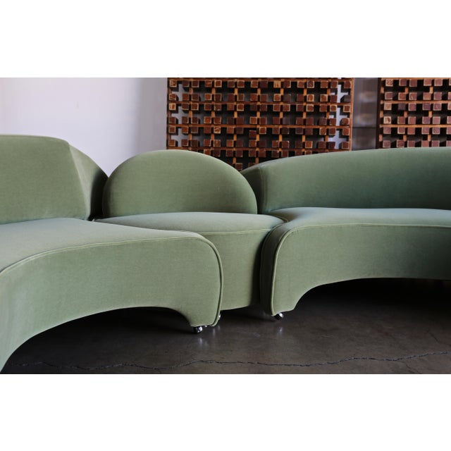 Vladimir Kagan Comete sofa for Roche Bobois, circa 2003. This piece has been expertly restored in green mohair. Right...