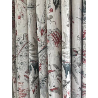 Pair of Jacobean Colefax & Fowler Designer Drapery Curtains Drapes Last Pair For Sale