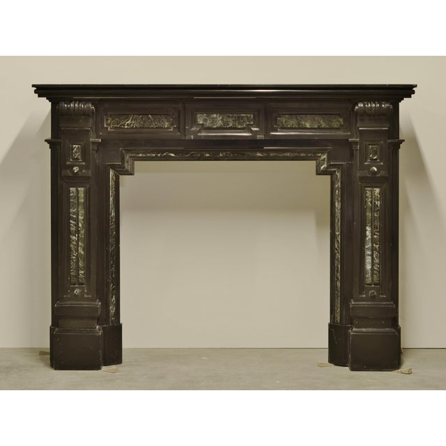 Mid 19th Century Monumental Dutch Black Marble Fireplace Mantel with Green Details For Sale - Image 5 of 5