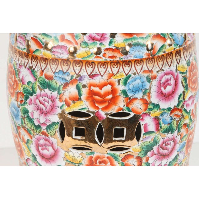 Asian Chinese Pink Ceramic Garden Seat With Lucky Coins For Sale - Image 3 of 8