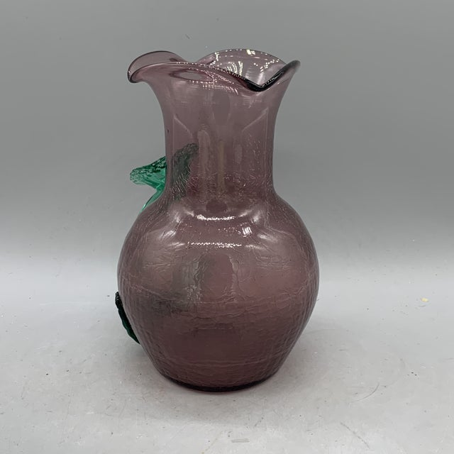 Late 19th Century Late 19th Century Kralik Glass Applied Flower Purple Vase For Sale - Image 5 of 10
