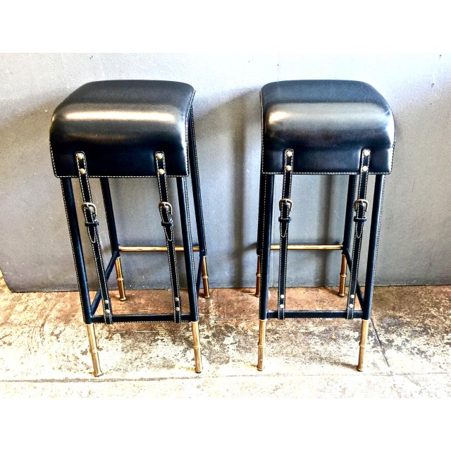 Pair of Jacques Adnet Bar Stools, C. 1950s For Sale - Image 12 of 12