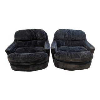 Mid 20th Century Selig Tufted Swivel Lounger Chairs - a Pair For Sale