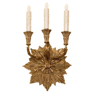 Carved Italian Gilt-Wood Three Arm Sconce by Randy Esada Designs For Sale