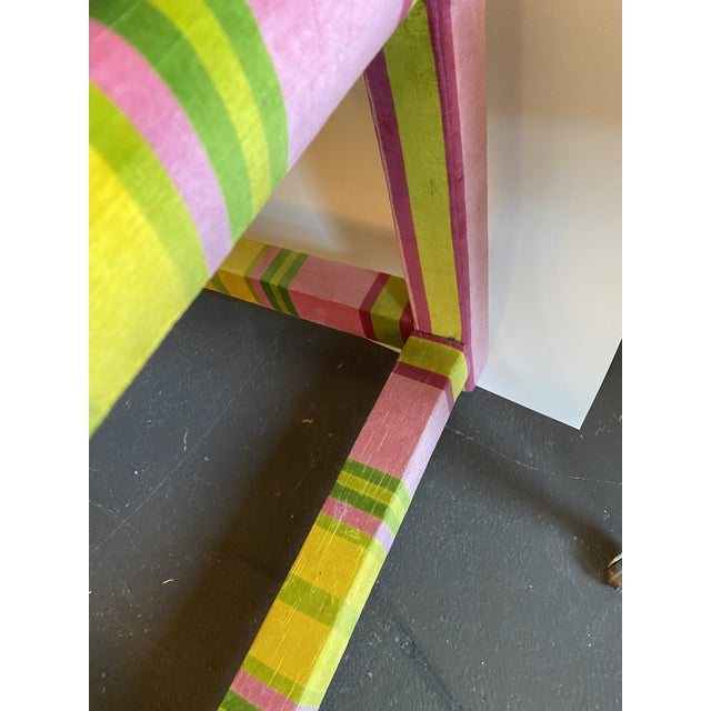 Pair of Velvet Pink and Green Stripe Milo Baughman Style Parson Benches For Sale In Chicago - Image 6 of 7