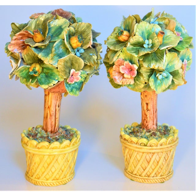 Meiselman Imports Vintage Italian Majolica Topiary Trees - A Pair For Sale - Image 4 of 7