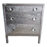 Image of Simmons 3-Drawer Brushed Steel Chest Of Drawers For Sale