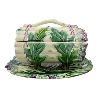 Luneville French Faïence Majolica Asparagus Tureen & Under Tray, 3 pcs. For Sale