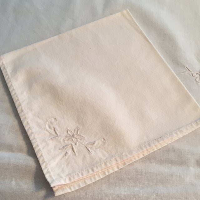 Vintage Ecru Cotton/Linen Cutwork Table Cloth and Napkins For Sale - Image 6 of 13