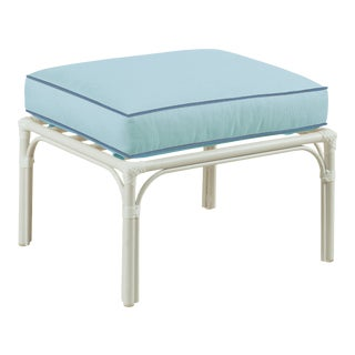 Haven Outdoor Ottoman, Mineral Blue and Sapphire For Sale