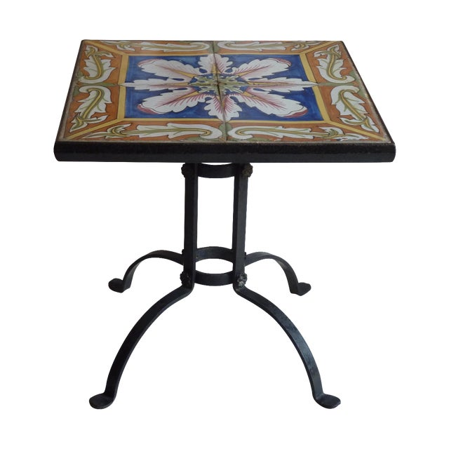 Hand Painted Tile Side Table - Image 1 of 4