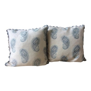 Cottage Peter Fasano Print Pillows - a Pair For Sale