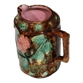19th Century French Barbotine Water Pitcher With Flowers Leaves & Nuts For Sale