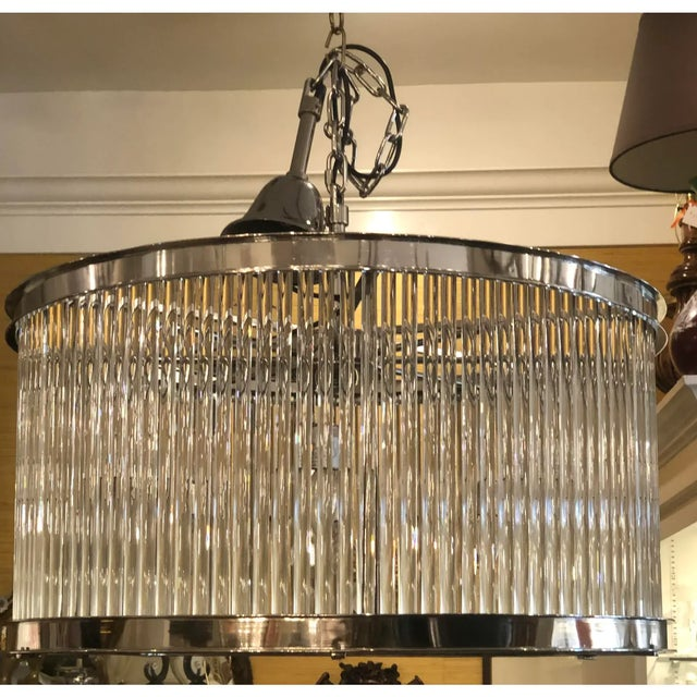 Art Deco French Art Deco Machine Age Glass Rod Light Fixture Chandelier For Sale - Image 3 of 5