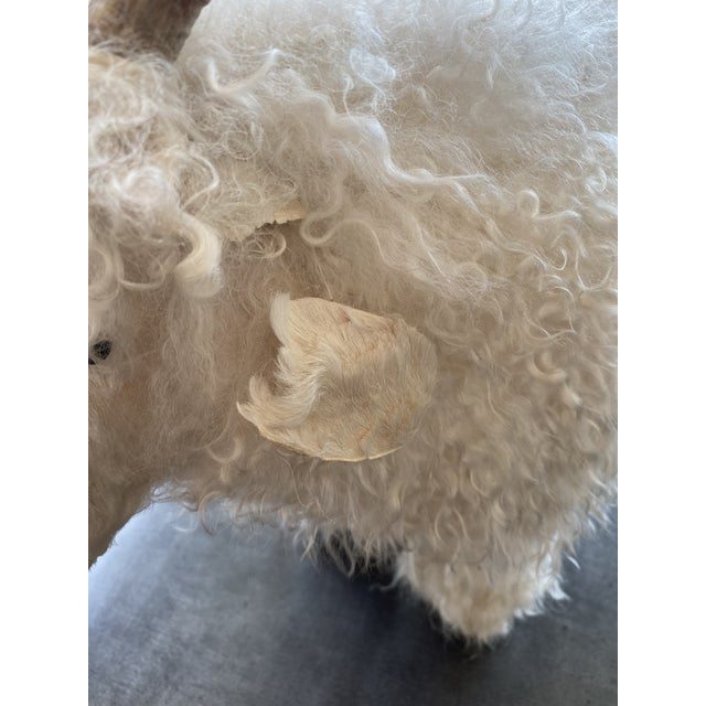 Mid-Century Modern Genuine Sheepskin Ottoman in the Manner of Claude Lalanne For Sale - Image 3 of 10