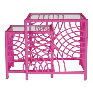 Swirl Nesting Tables - Bright Pink For Sale