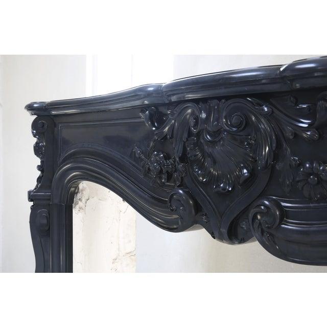 Louis XV Antique Marble Fireplace, Noir De Mazy, Louis Xv, 19th Century For Sale - Image 3 of 8